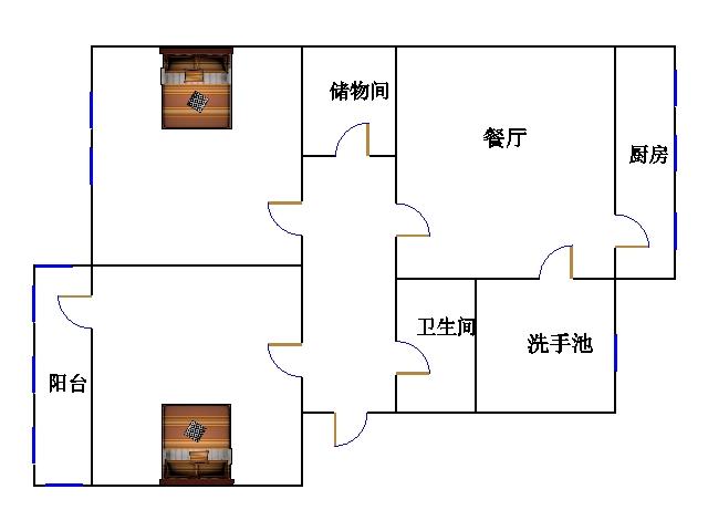 建行宿舍 2室1厅 过五年 简装 34万