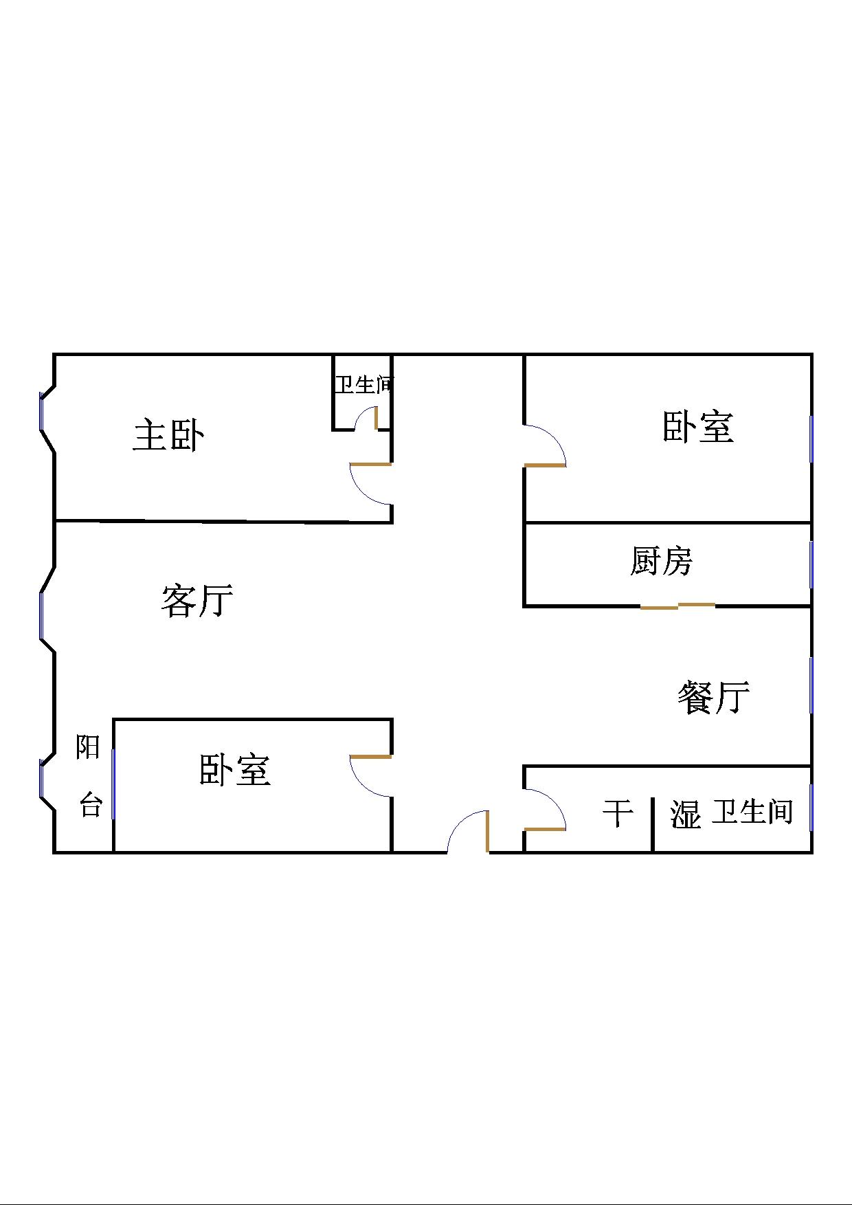 跃华中学宿舍 3室2厅  毛坯 68万