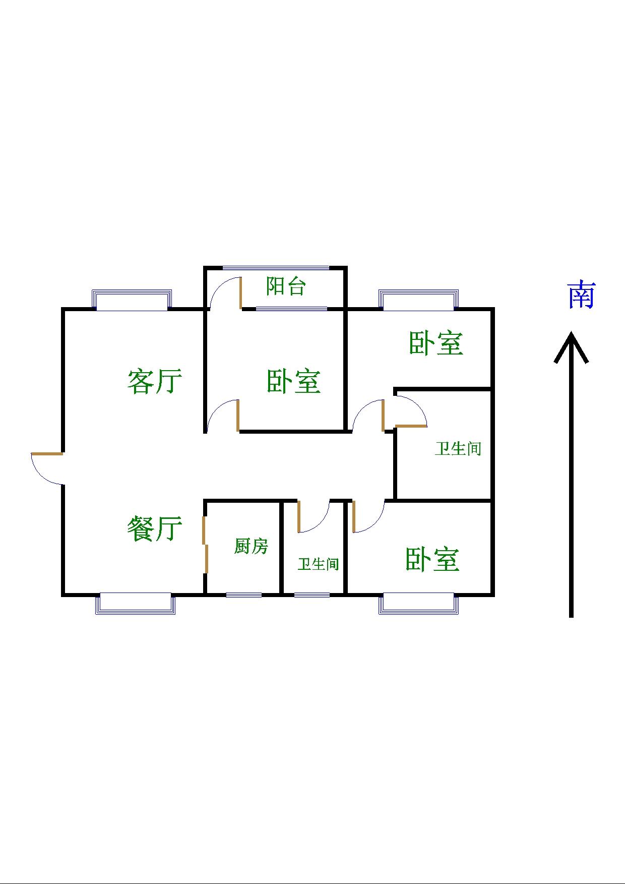 跃华中学宿舍 3室2厅  简装 66万