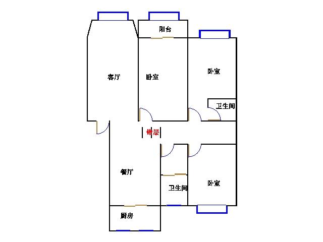 德馨苑 3室2厅 双证齐全过五年 毛坯 120万