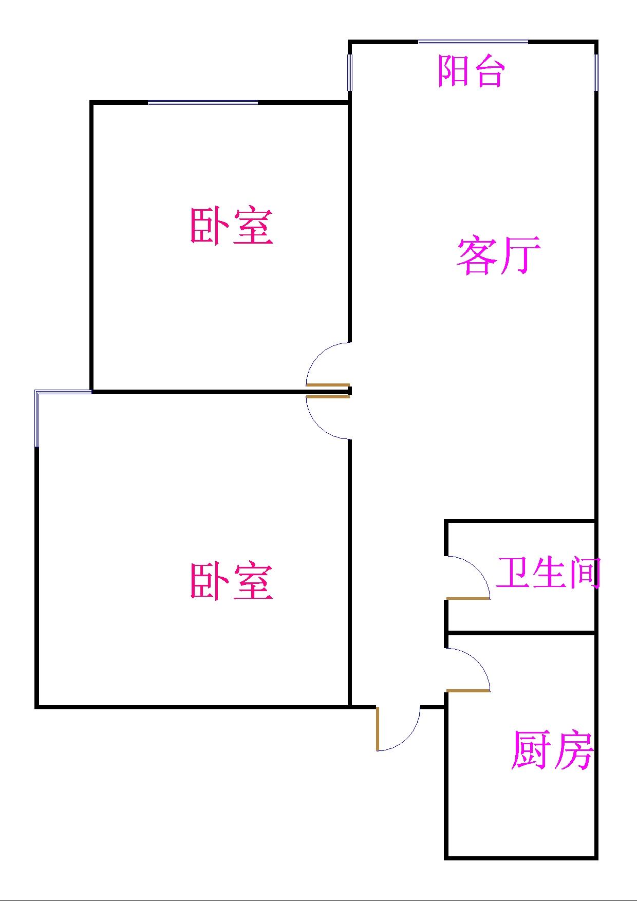 凯旋花园 2室2厅  简装 63万