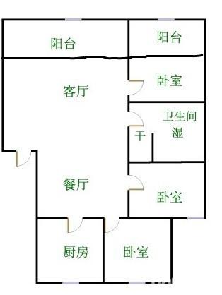 碧水温泉 3室2厅  简装 61万