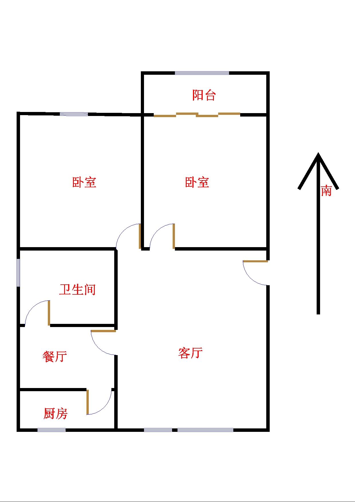 湘江小区北区 2室2厅 双证齐全过五年 简装 86万