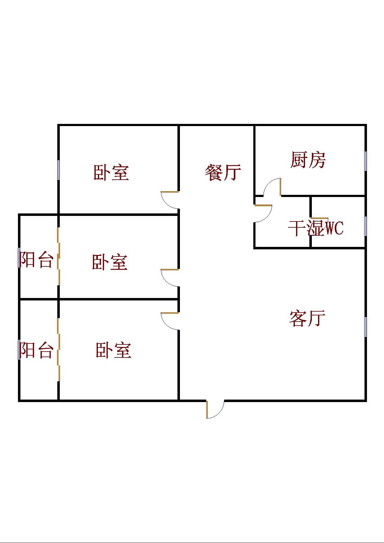 乾城尊府 3室2厅  简装 112万