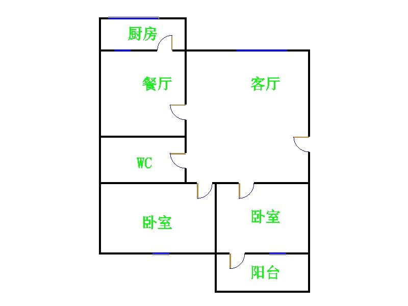 广川小区 2室1厅 双证齐全过五年 简装 53万