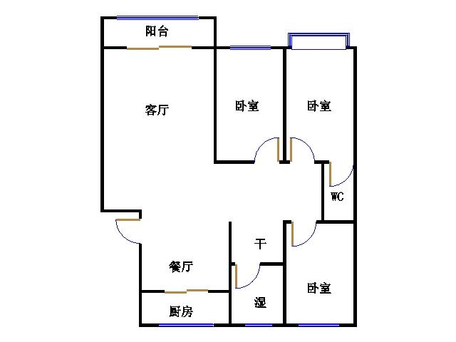 东海现代城小区 3室2厅 双证齐全过五年 简装 80万