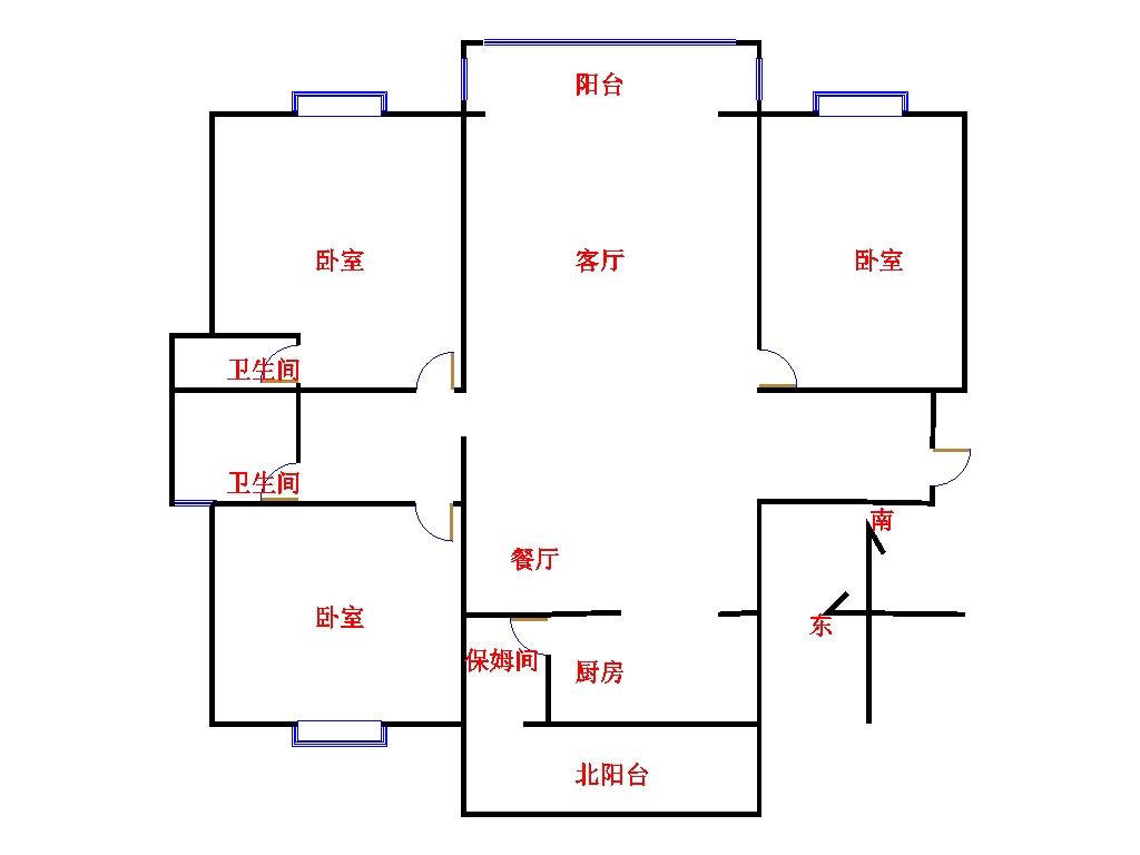 凯旋花园 3室2厅  毛坯 72万