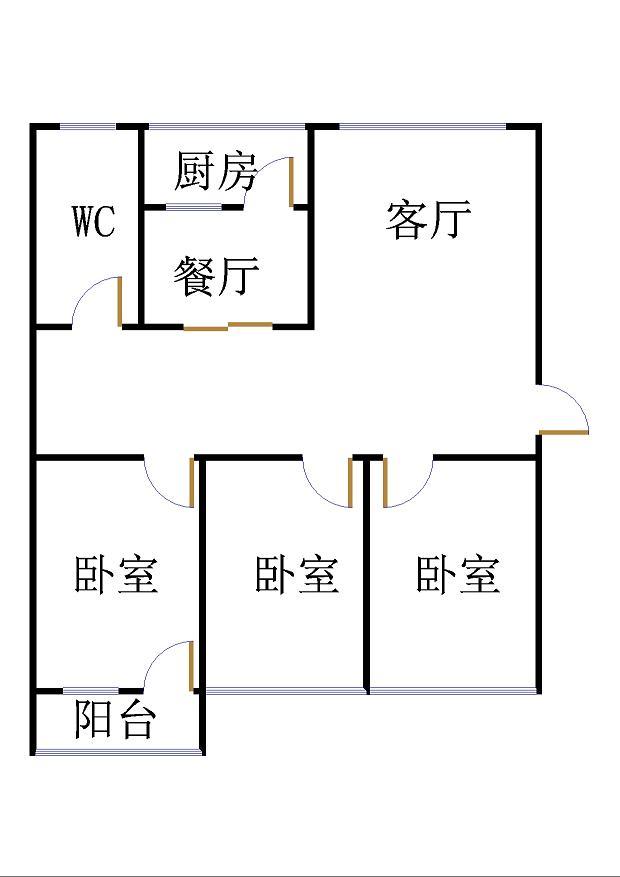 农村信用社 3室2厅  简装 68万