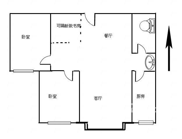 嘉城盛世 2室2厅  毛坯 110万
