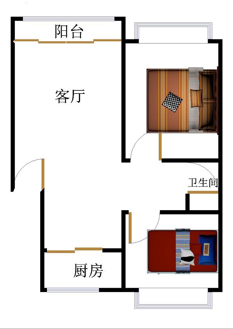 名苑小区 2室2厅 双证齐全过五年 简装 56万