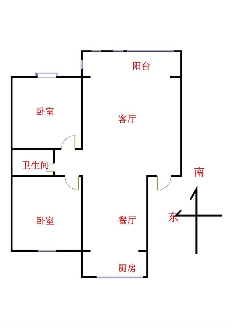 市直小区 2室2厅 4楼