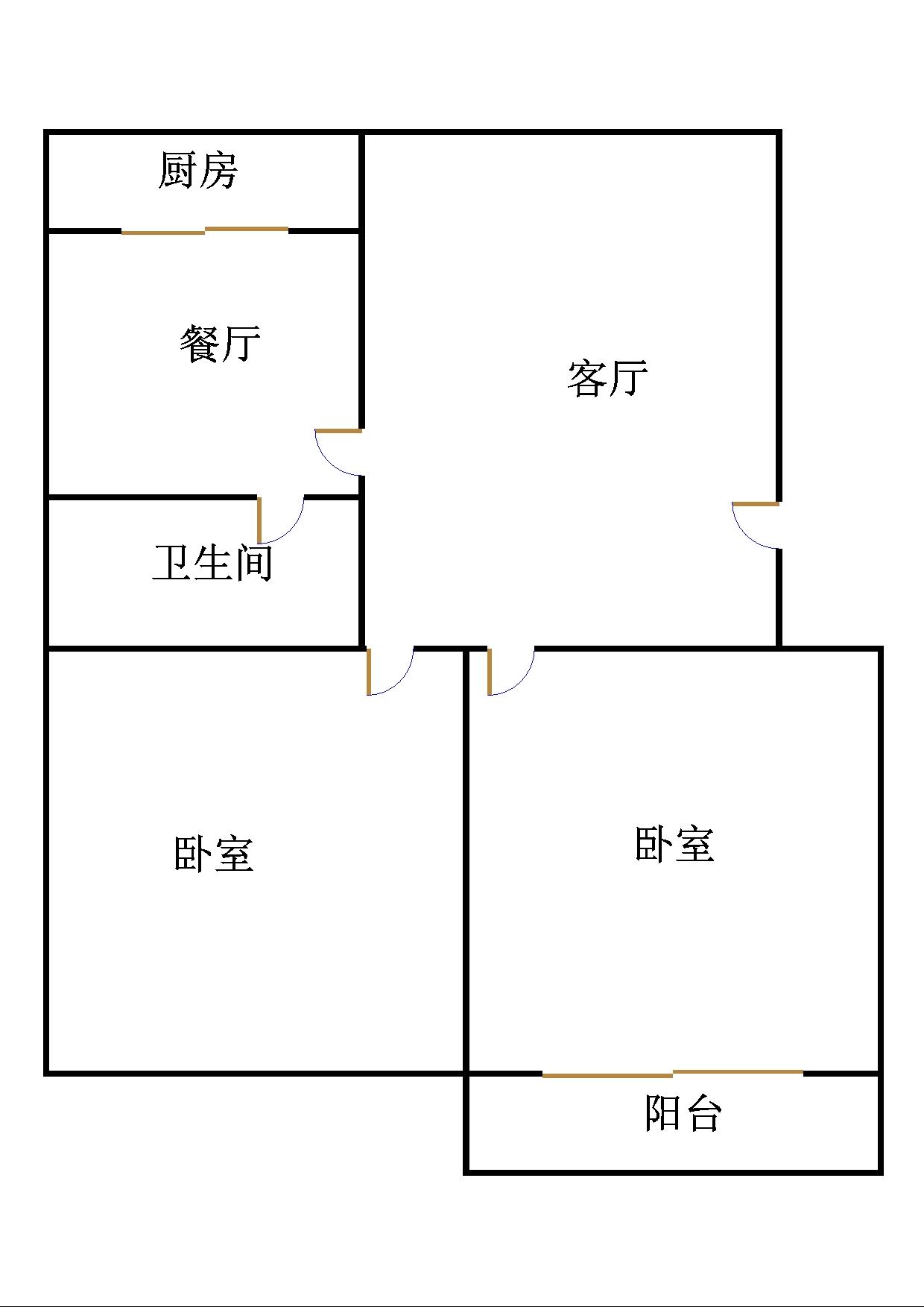 刨花板厂宿舍 2室2厅 4楼