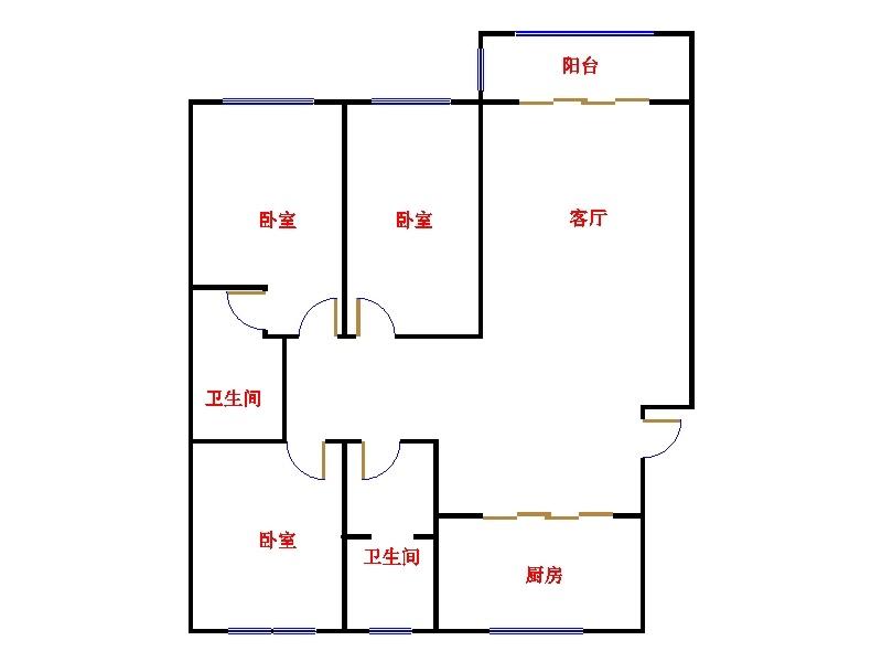 温馨家园 3室2厅  简装 100万
