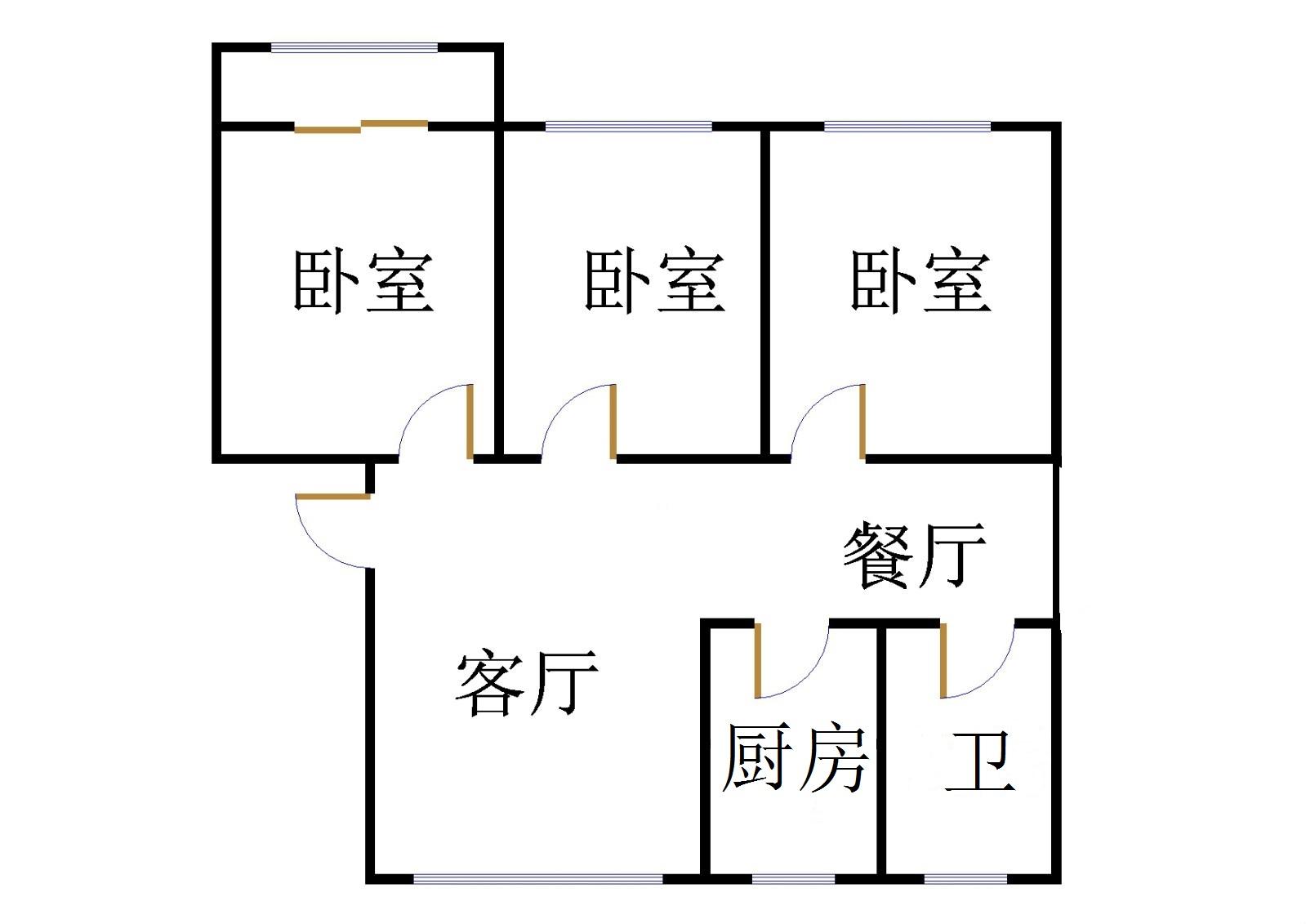 刁李贵小区 3室2厅 5楼