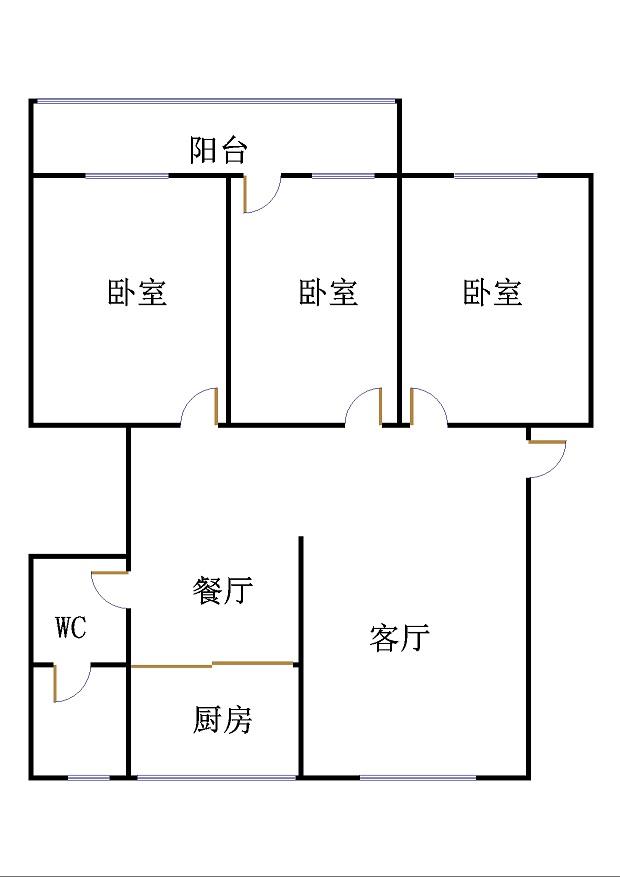 华元小区 3室2厅 过五年 简装 68万