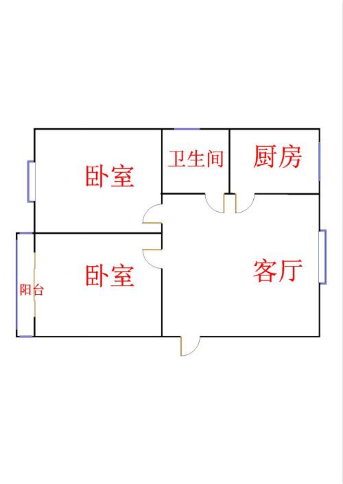 宋官屯小区 2室1厅 2楼