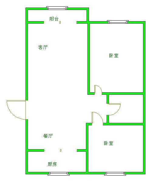 新城市花园小区 2室2厅 4楼