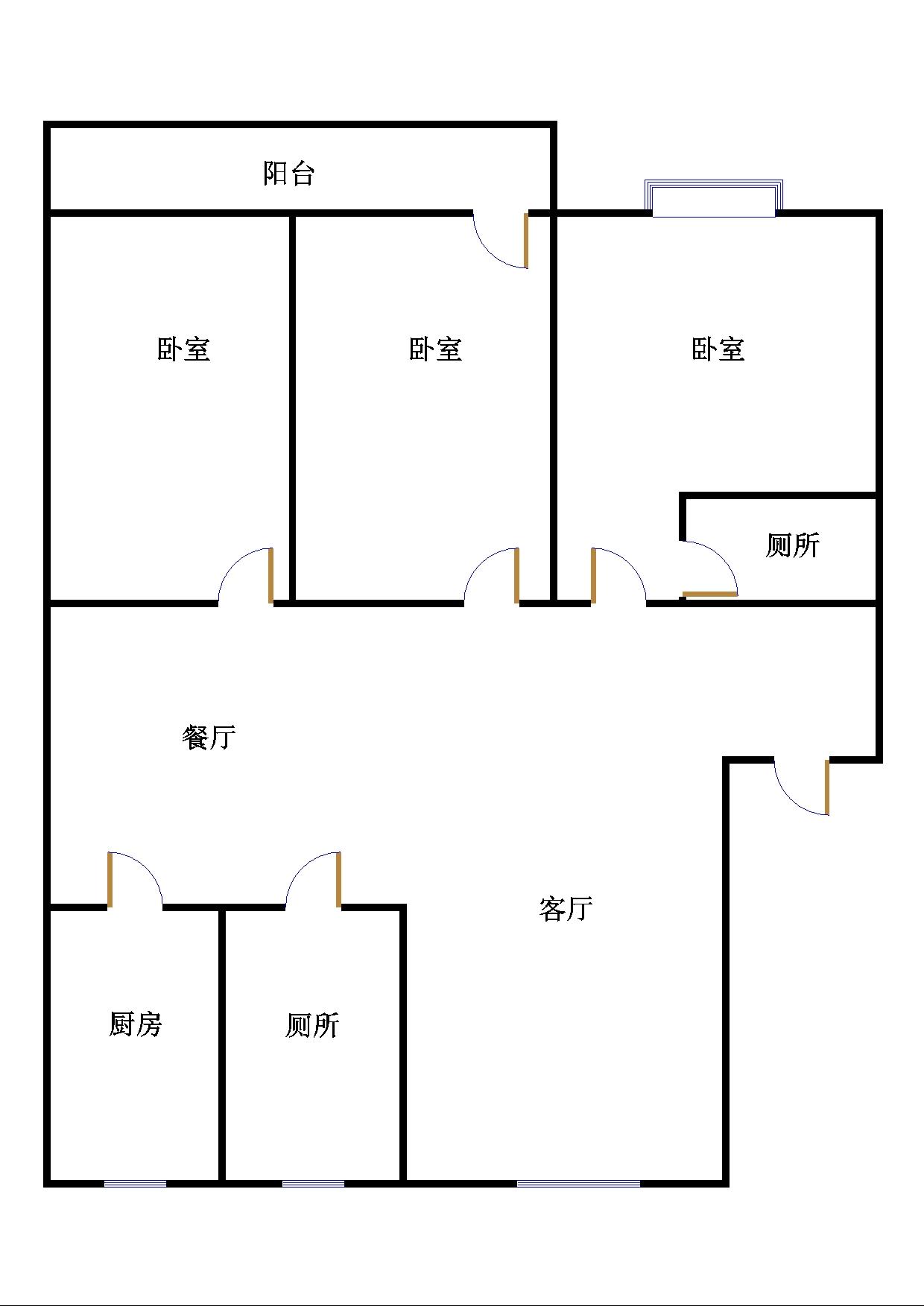 新城市花园小区 3室2厅 1楼