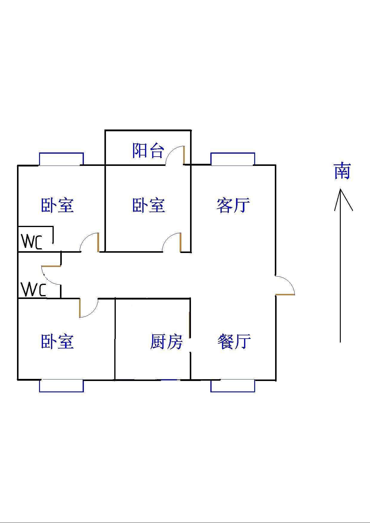 新城市花园小区 3室2厅 7楼