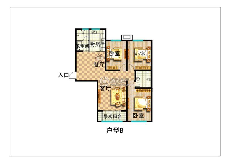 月亮湾 3室2厅 22楼