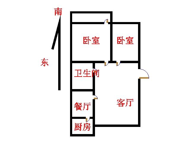 湘江小区北区 2室2厅 双证齐全 简装 83万