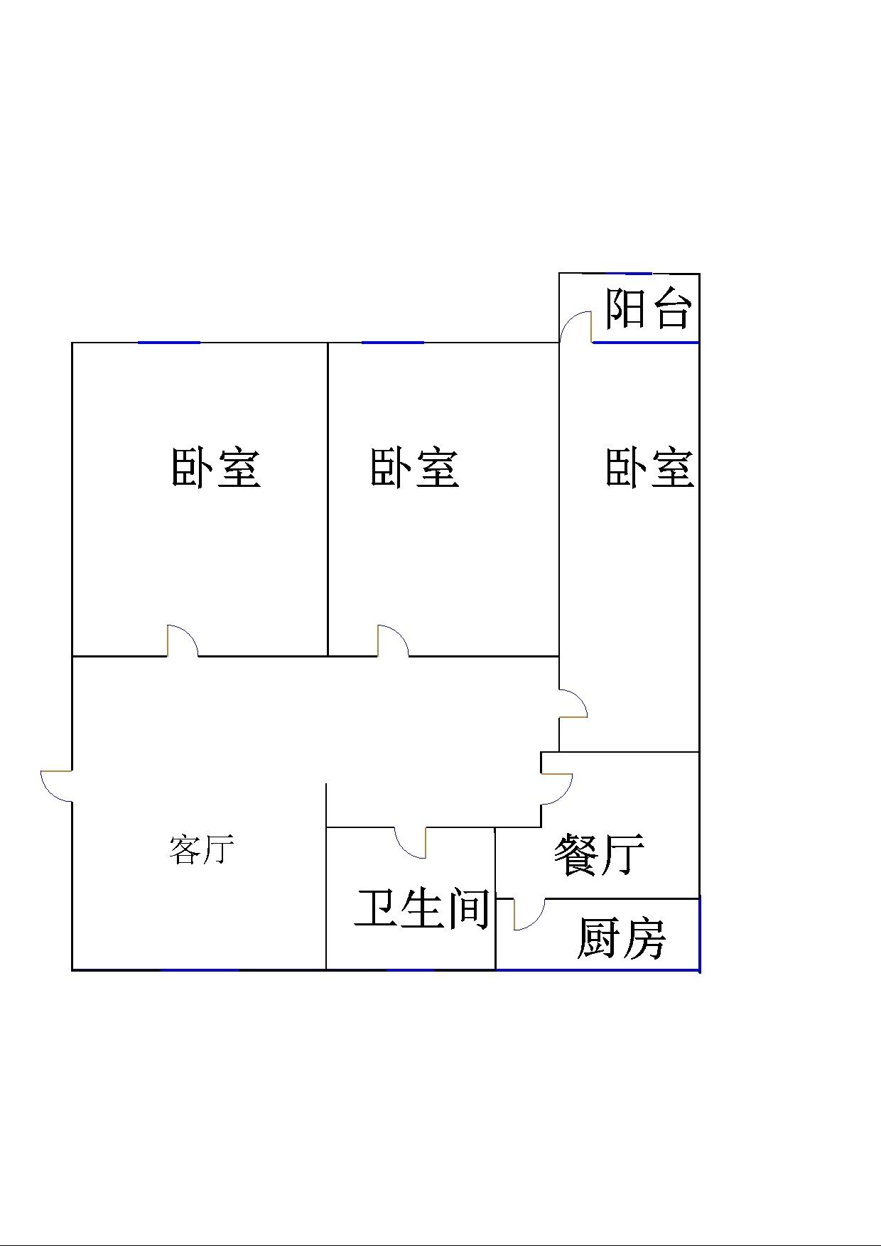 中心医院宿舍 3室2厅 双证齐全过五年 简装 120万