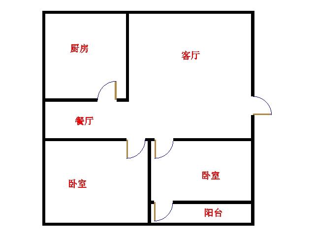 阳光花园小区 2室1厅 6楼