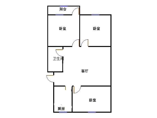 建兴小区南 3室1厅 双证齐全过五年 简装 36万