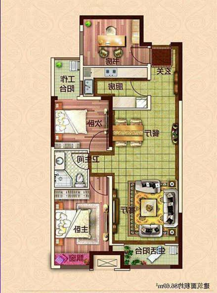 万达广场 2室2厅 28楼