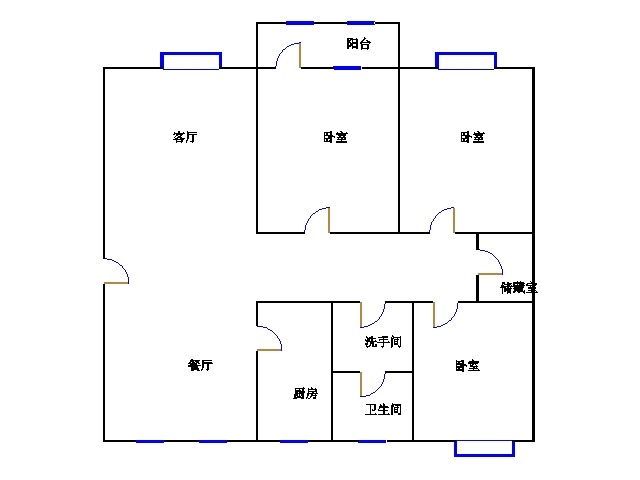 新城市花园小区 3室2厅 3楼