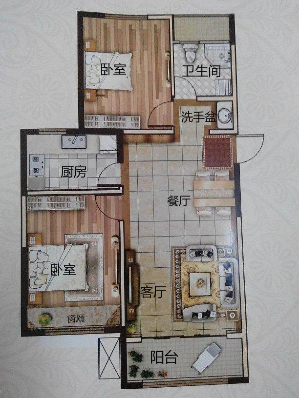 万达广场 2室2厅 6楼