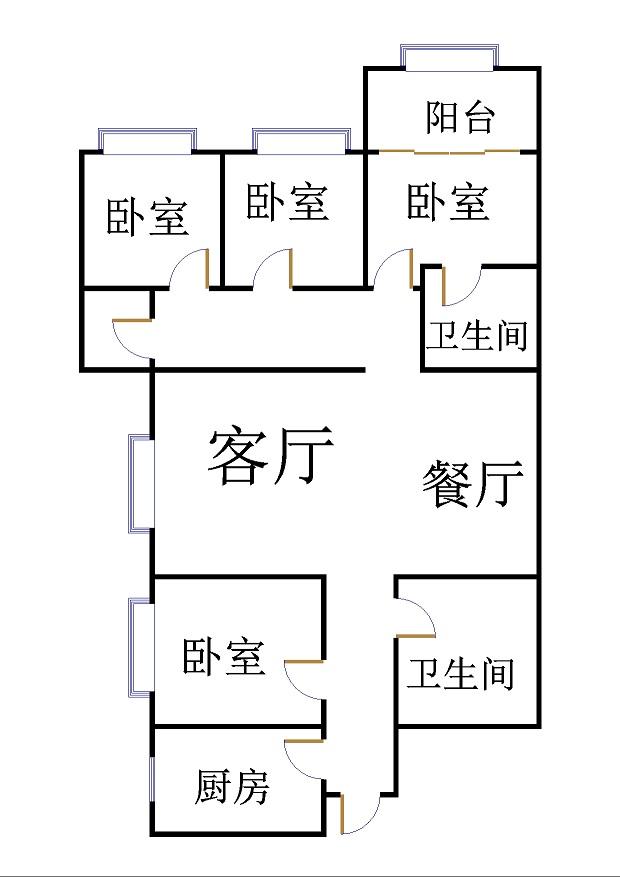 帝景苑小区 4室2厅 双证齐全过五年 毛坯 150万