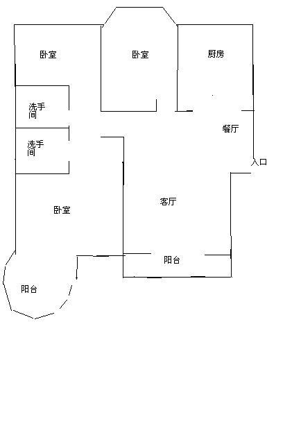 月亮湾 3室2厅 25楼