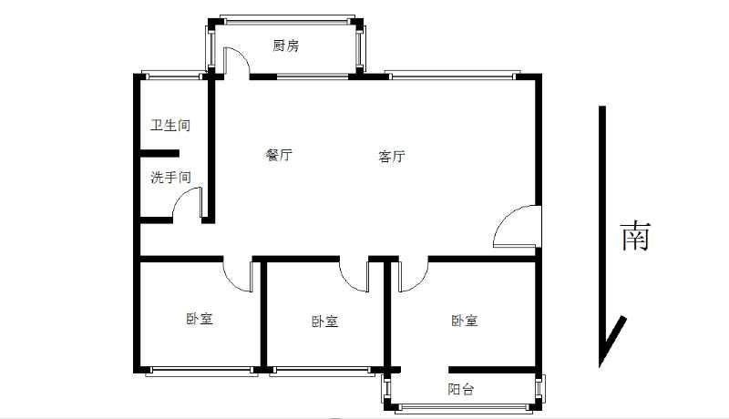 中心医院宿舍 3室2厅 5楼