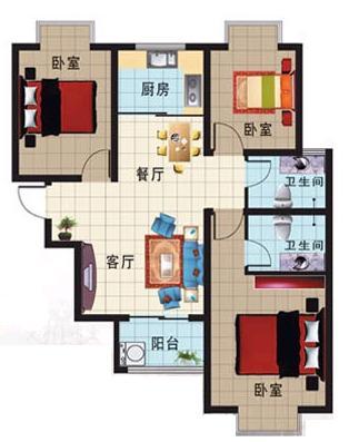 凯旋花园 3室2厅 16楼
