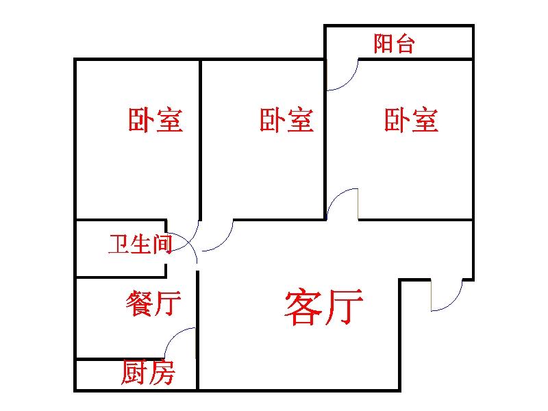 市直小区 3室2厅 5楼