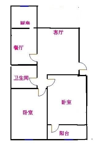 市政公司宿舍 2室2厅 双证齐全过五年 简装 83万
