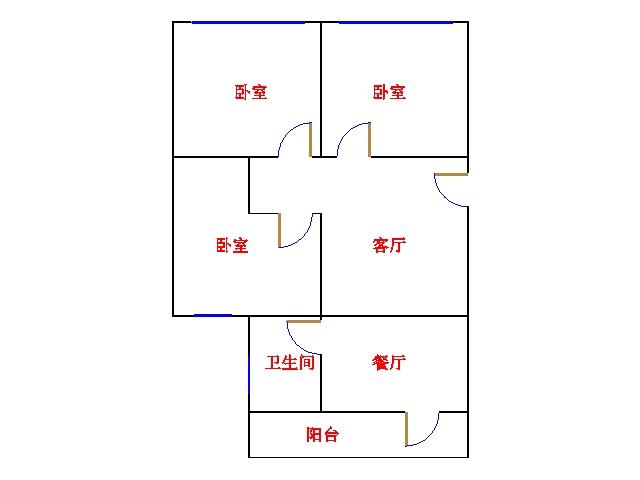 铁路宿舍(上沿) 2室1厅  简装 55.8万