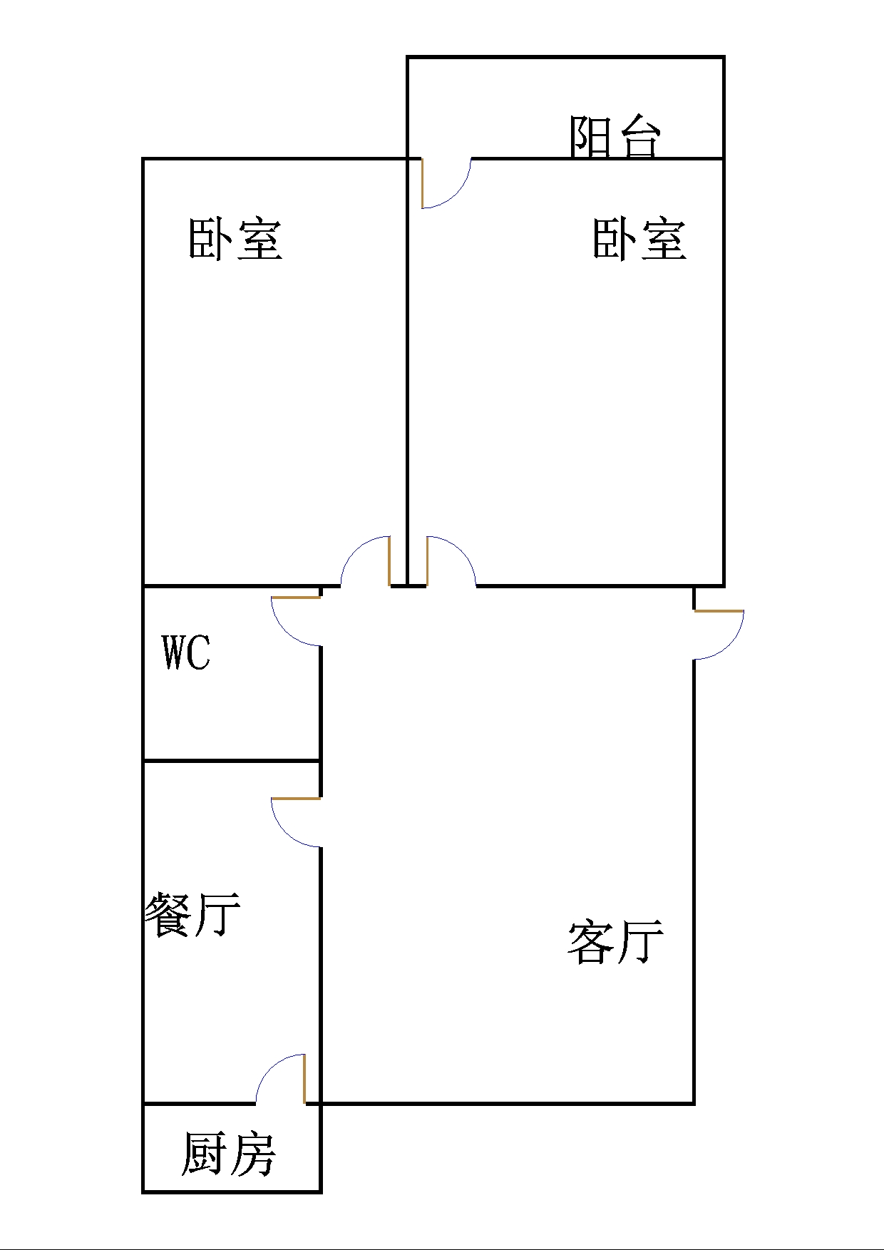 晶峰宿舍 2室2厅  简装 68万
