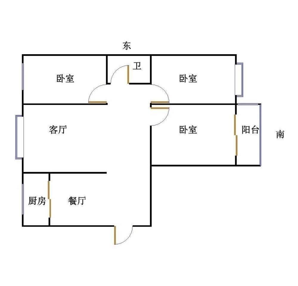 牡丹华庭 3室2厅  毛坯 100万