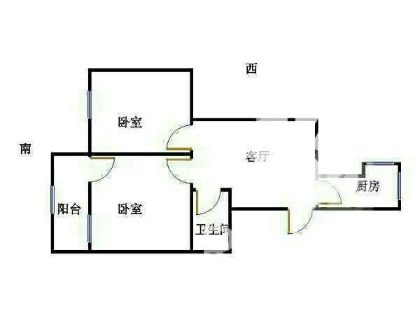 国棉厂宿舍 2室2厅 双证齐全 简装 65万