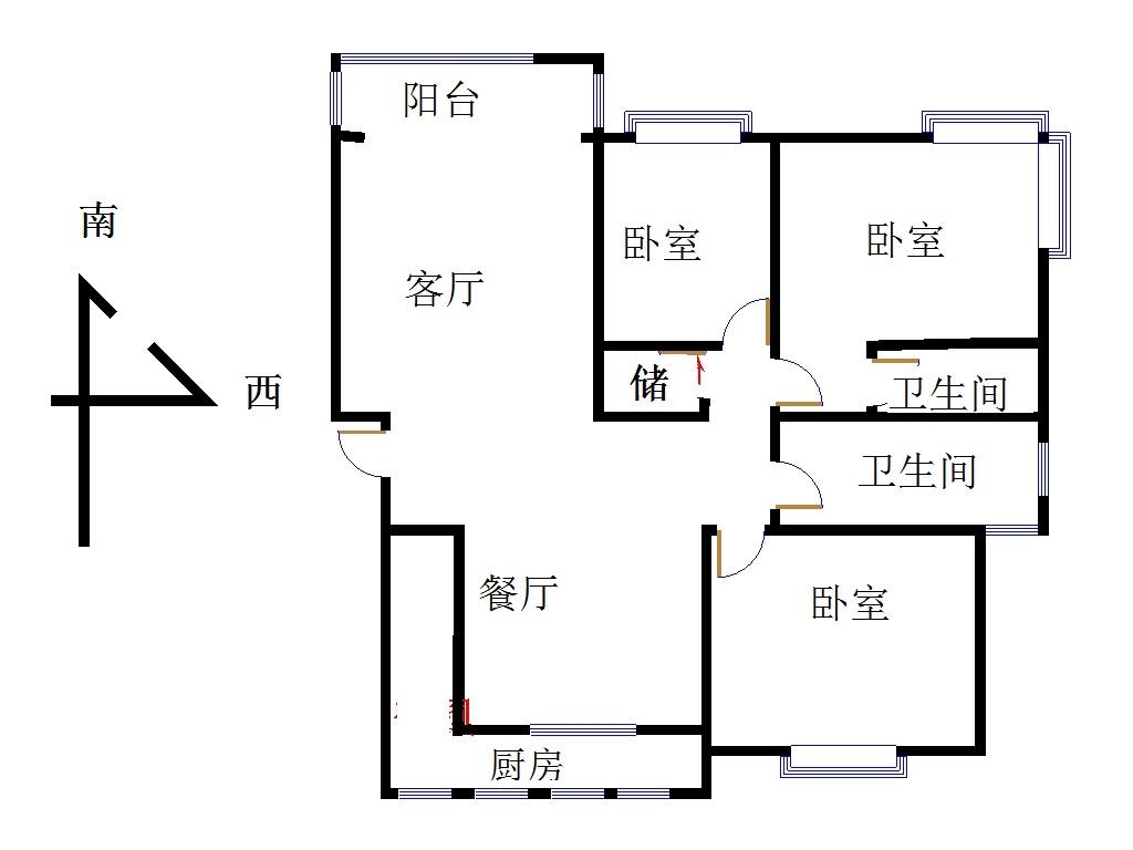 新城市花园小区 3室2厅 双证齐全 简装 165万