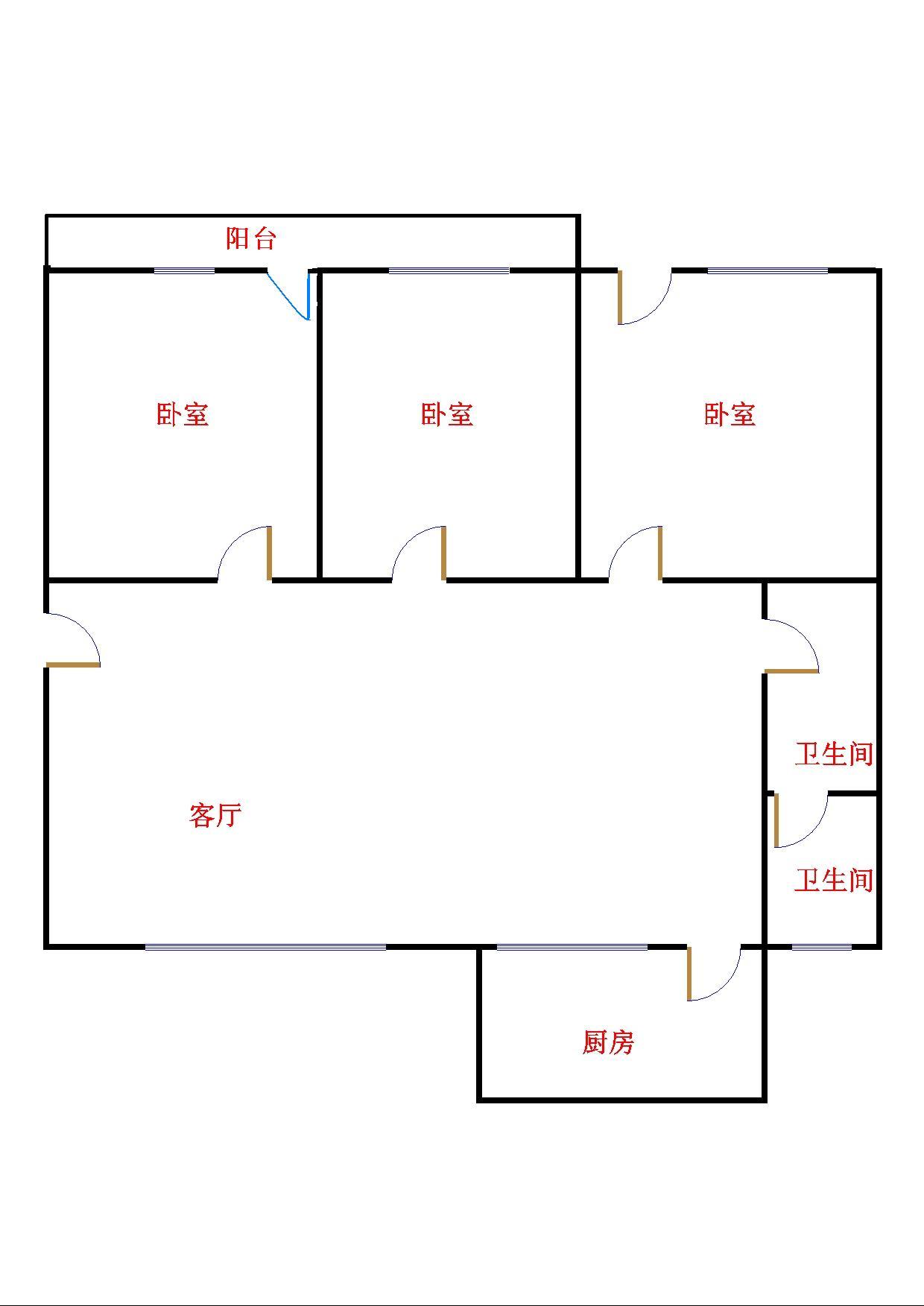 粮局宿舍 3室2厅 双证齐全 简装 72万