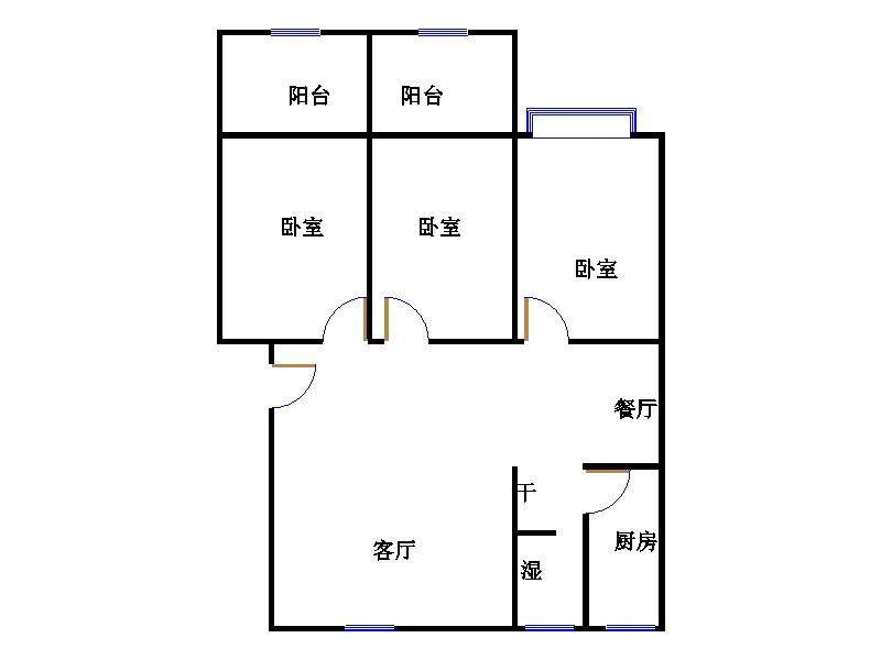 乾城尊府 3室2厅 双证齐全过五年 简装 111万
