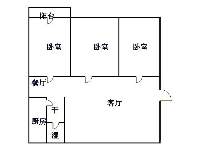 天达建筑公司宿舍 3室2厅 双证齐全 简装 90万