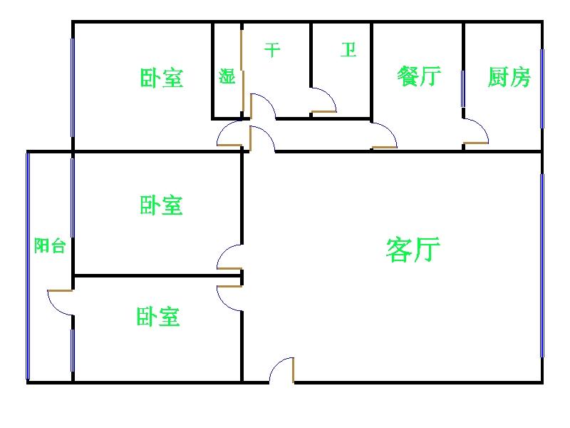 市中花园 3室2厅 双证齐全 精装 155万