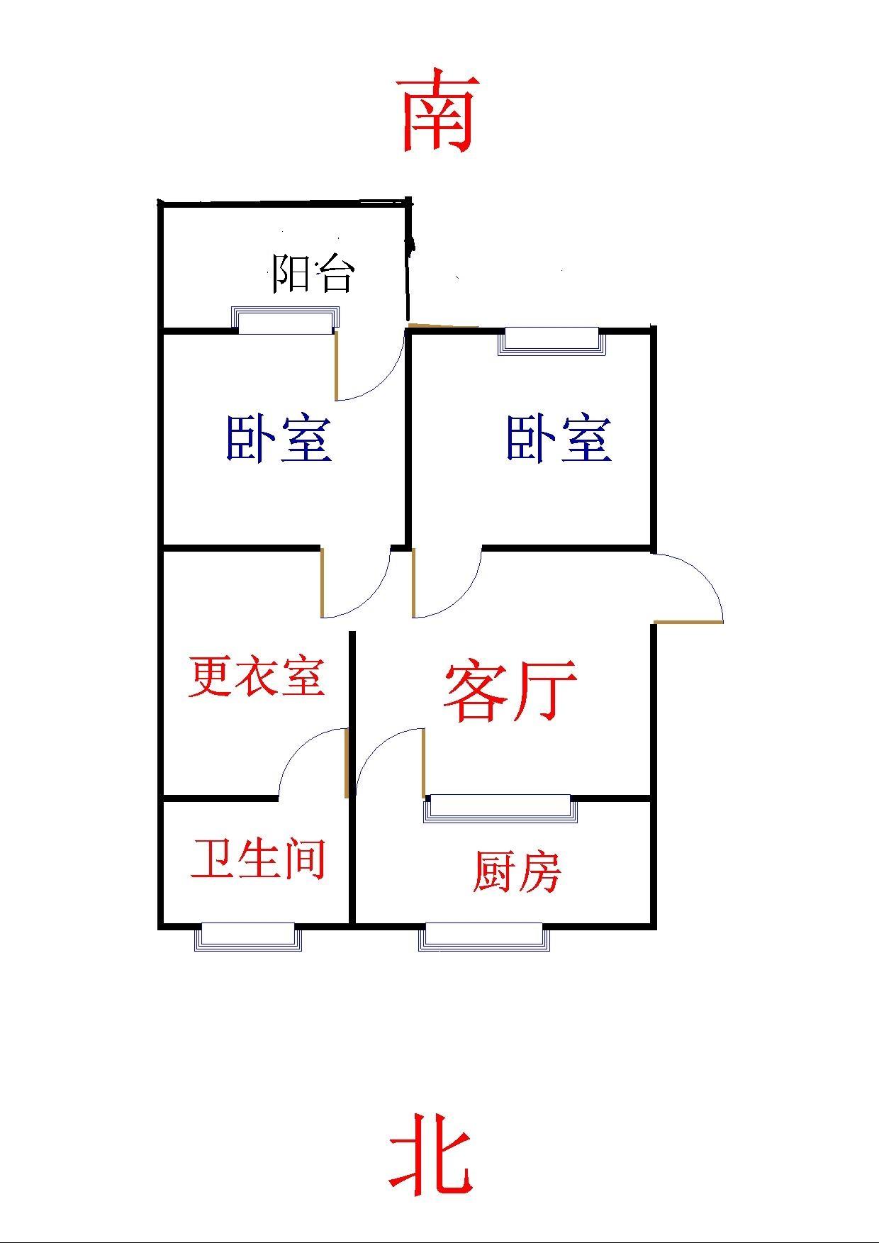 新华印刷厂宿舍 2室1厅 双证齐全过五年 简装 61万
