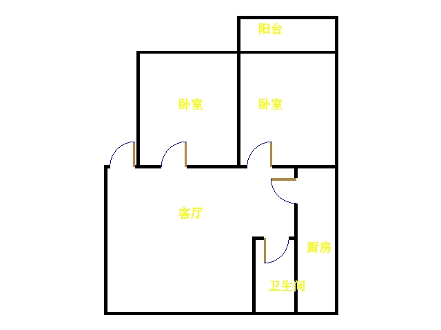 金卉小区 2室1厅 6楼
