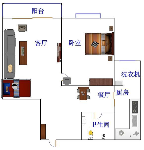 泰和名仕港 1室2厅 双证齐全 简装 75万