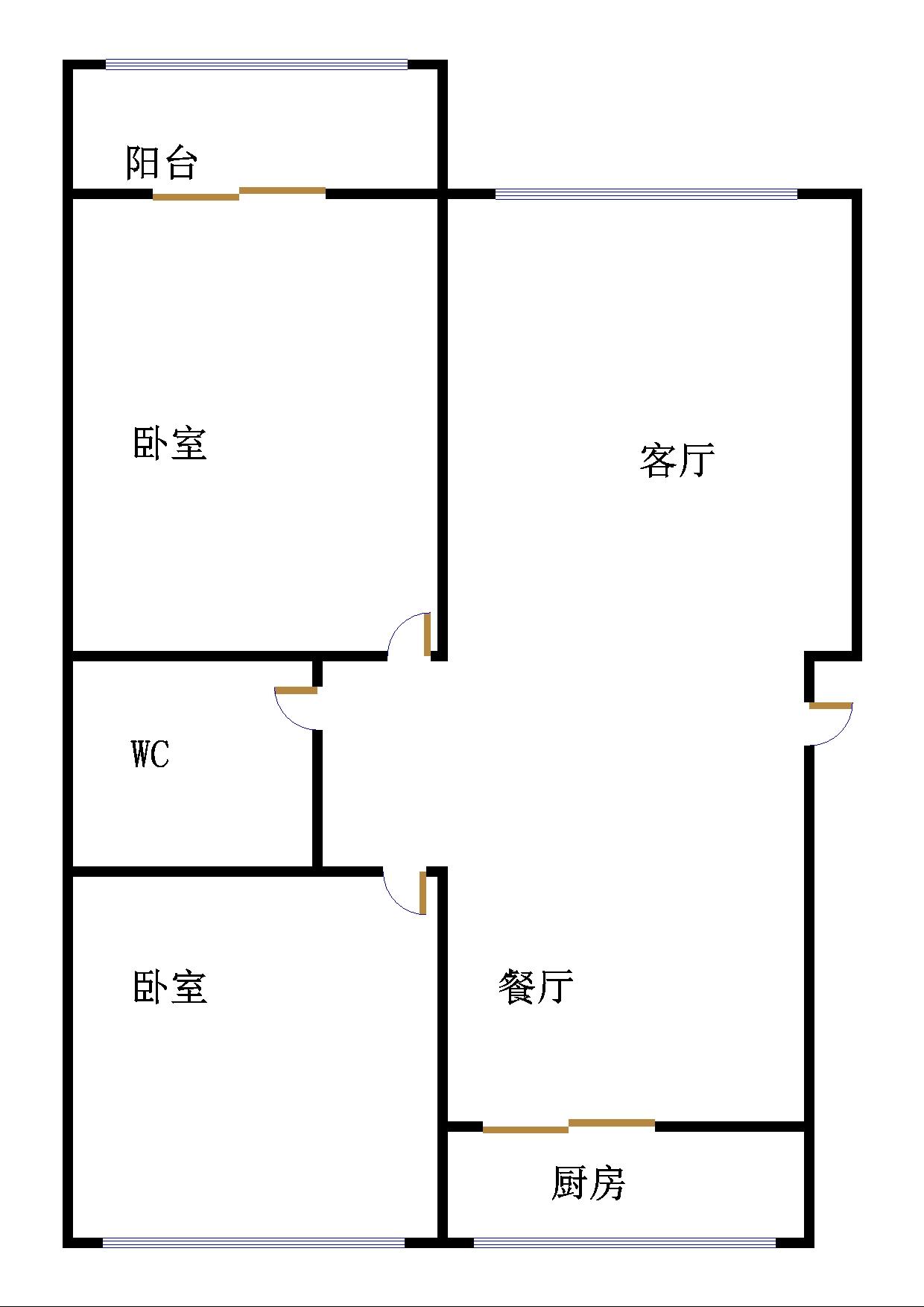 时代花园 2室2厅 双证齐全 简装 68万